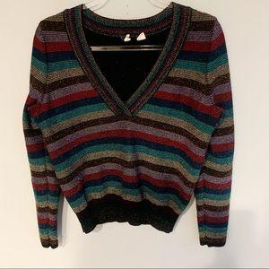 Anthropologie Moth V-Neck Metallic Striped Sweater